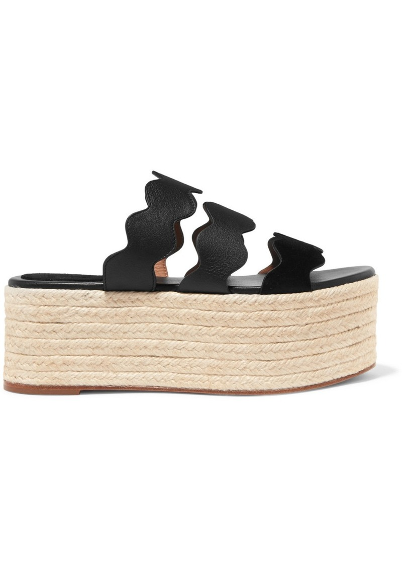 80787c1a8dcf Chloé Lauren Scalloped Suede And Textured-leather Espadrille Platform Slides