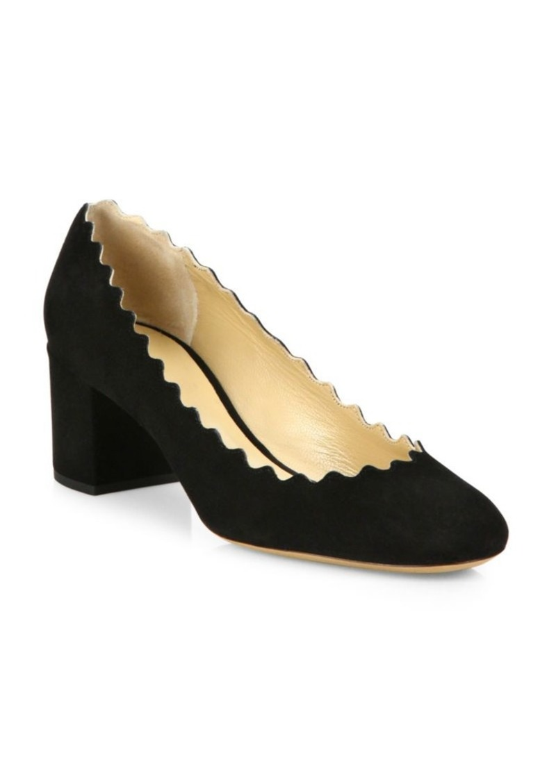 edb308d1a9f4 Chloé Lauren Scalloped Suede Block Heel Pumps