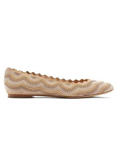 Chloé Lauren studded scallop-edge leather flats