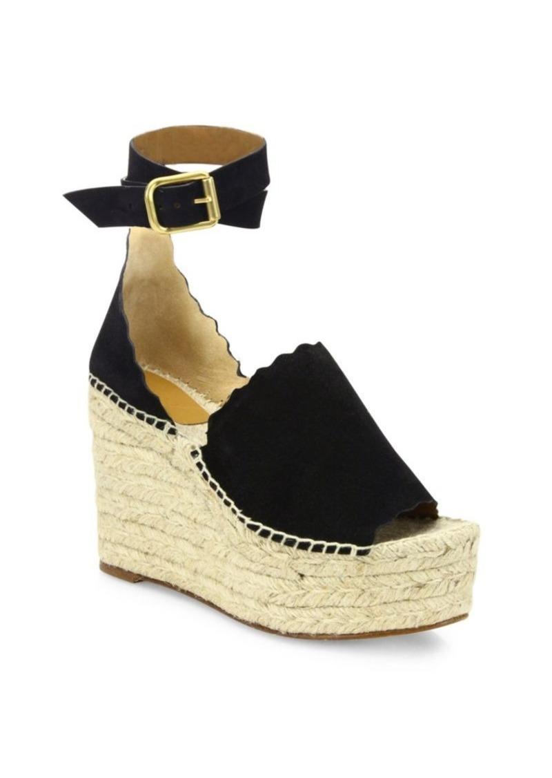 2c19d243946 Chloé Lauren Suede Ankle-Strap Espadrille Wedge Sandals