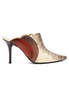 Chloé Lauren watersnake-print leather mules
