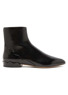 Chloé Laurena scalloped leather ankle boots