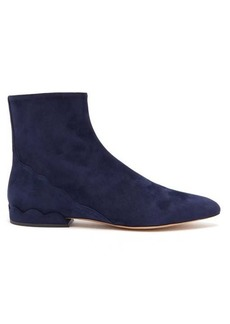 Chloé Laurena scalloped suede ankle boots