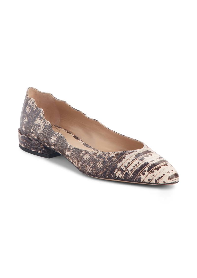 Chloé Laurena Snake Embossed Scalloped Flat (Women)