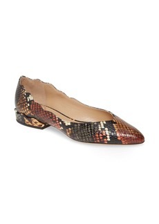 Chloé Laurena Snake Embossed Scalloped Flat (Women) (Nordstrom Exclusive)