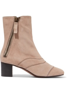 Chloé Lexie Crosta Paneled Suede Ankle Boots