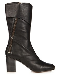 Chloé Lexie leather block-heel boots