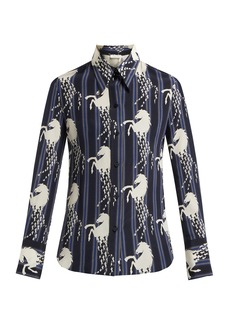 Chloé Little Horse-print silk-crepe shirt