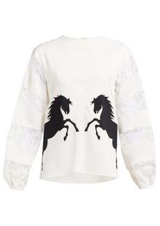 Chloé Little Horses-appliqué crepe and lace blouse