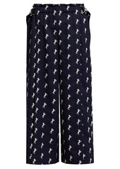 Chloé Little Horses-embroidered cropped wool trousers