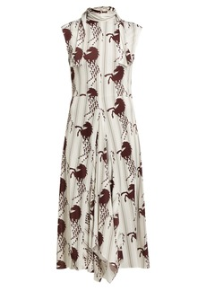 Chloé Little Horses-print panelled cady midi dress