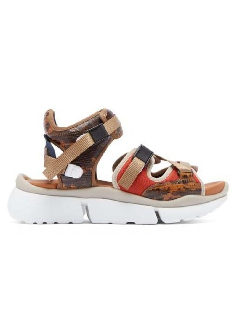 Chloé Lizard-effect leather multi-strap sandals