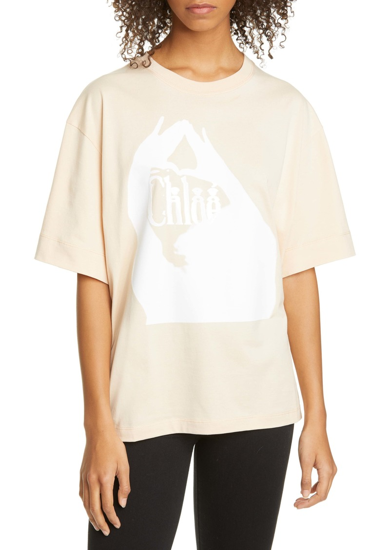 Chloé Logo Embroidered Cotton Tee