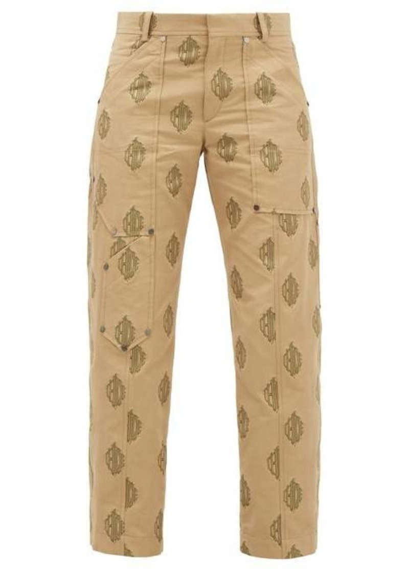Chloé Logo-jacquard cropped cotton trousers