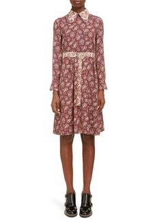 Chloé Long Sleeve Paisley Silk Dress