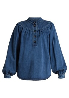 Chloé Long-sleeved gathered-yoke denim shirt