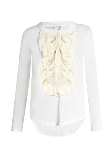 Chloé Long-sleeved silk ruffle-trimmed cotton T-shirt