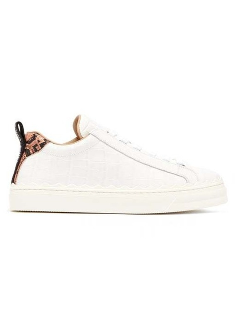 Chloé Low-top crocodile-effect leather trainers