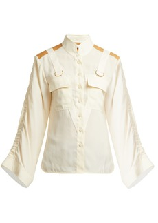Chloé Mandarin-collar patch-pocket blouse