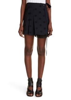 Chloé Medallion Eyelet Pleated Wrap Skirt