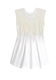Chloé Medallion-lace cap-sleeved T-shirt