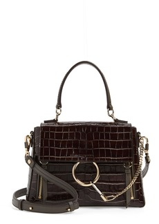 Chloé Medium Faye Day Croc Embossed Leather Shoulder Bag