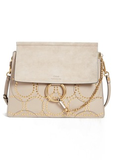 Chloé 'Medium Faye' Studded Calfskin Shoulder Bag