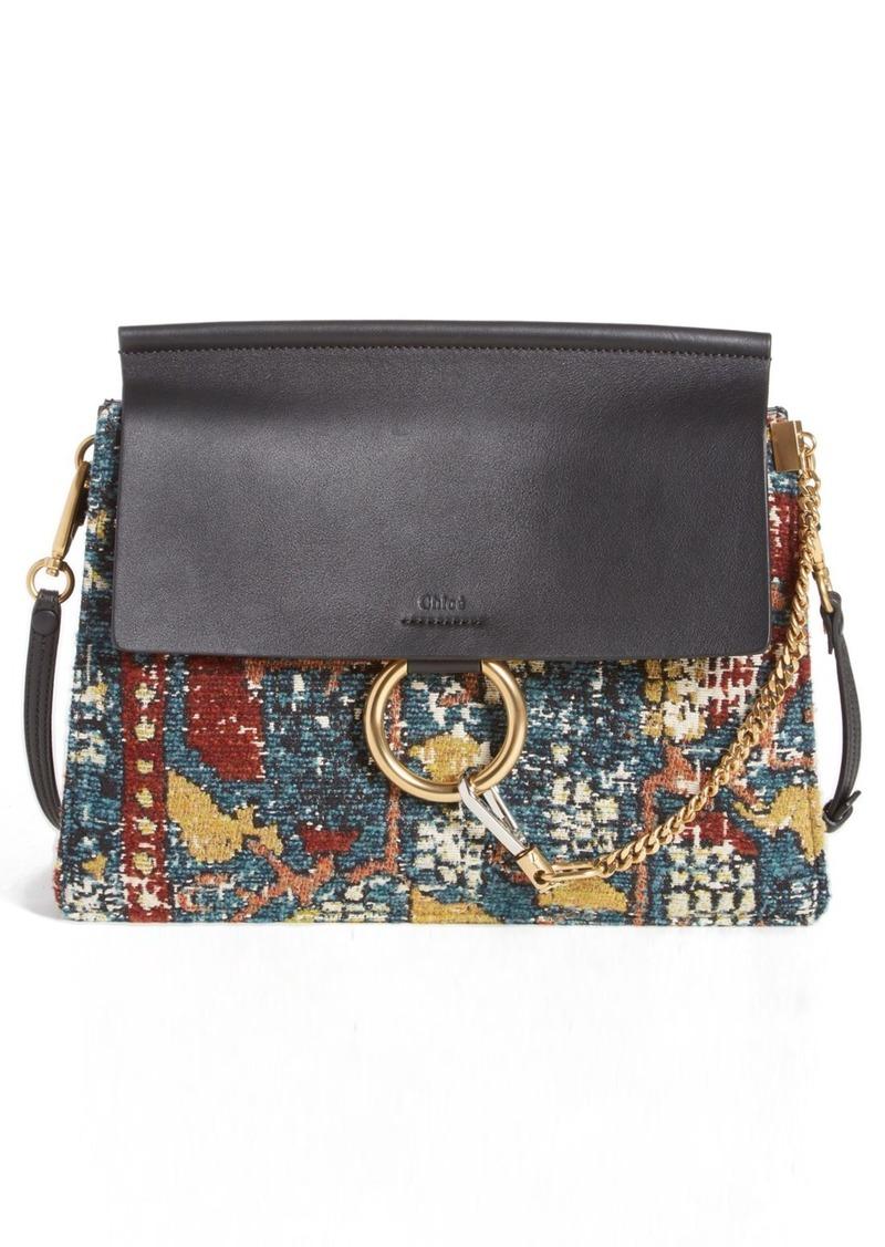 Chloé 'Medium Faye' Tapestry & Calfskin Shoulder Bag
