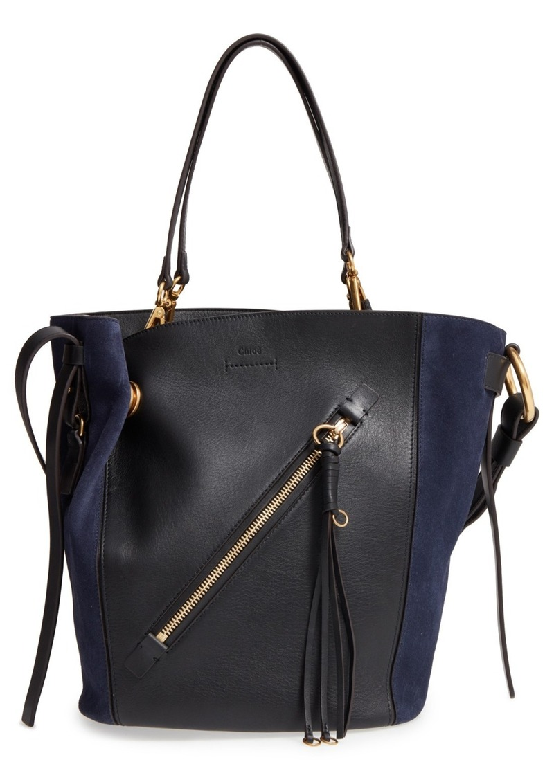 Chloé Medium Myer Calfskin Leather Suede Tote