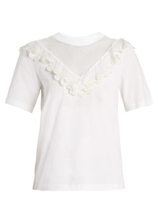 Chloé Mesh-insert ruffled cotton top