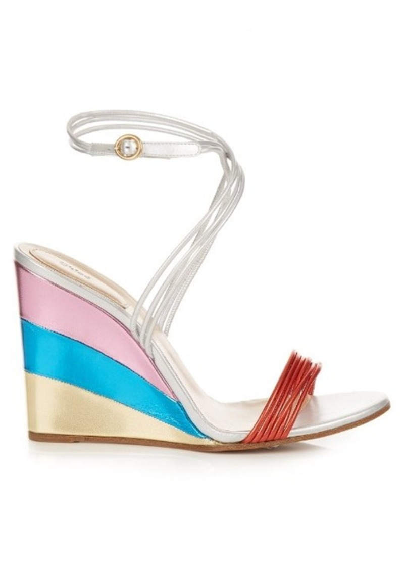 Chloé Metallic rainbow wedge sandals