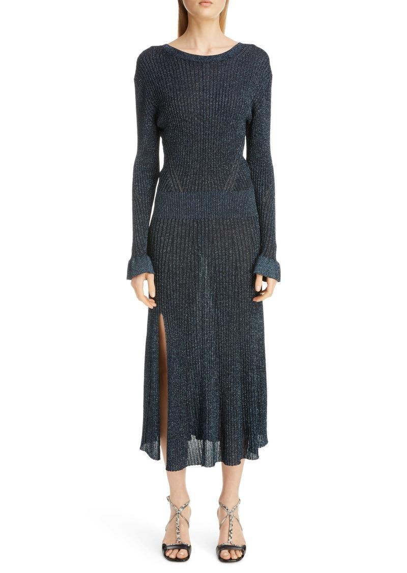 Chloé Metallic Rib Long Sleeve Midi Dress