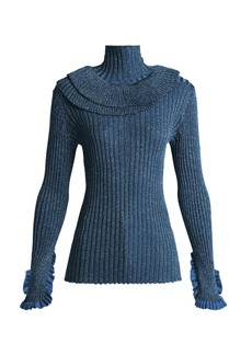 Chloé Metallic ruffle-trimmed silk-blend sweater