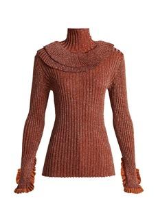 Chloé Metallic ruffle-trimmed sweater
