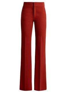Chloé Mid-rise flared crepe trousers