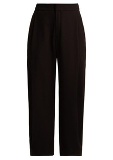 Chloé Mid-rise pleated crepe trousers