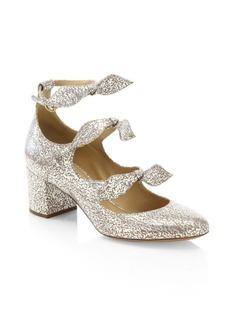 Chloé Mike Metallic Leather Block Heel Pumps