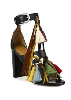 Chloé Miki Tassel Leather Block-Heel Sandals
