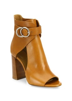 Chloé Millie Cutout Leather Block Heel Booties