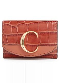 Chloé Mini-C Croc Embossed Leather Wallet