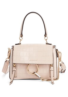 Chloé Mini Faye Day Croc Embossed Leather Satchel