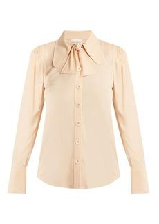 Chloé Neck-tie crepe-cady blouse