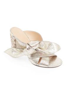 Chloé Nellie Bow Metallic Leather & Crystal Block Heel Slides