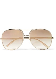 Chloé Nola aviator-style gold-tone mirrored sunglasses