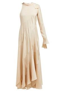 Chloé One-sleeved silk-twill maxi dress