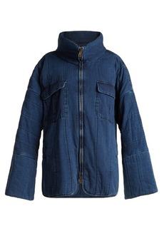 Chloé Oversized funnel-neck quilted denim coat