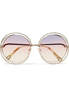 Chloé Oversized Round-frame Gold-tone Sunglasses