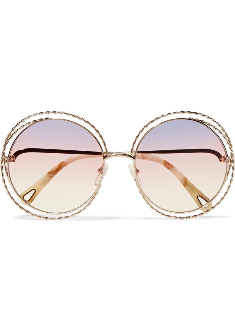 74ae51c59622 Chloé Oversized Round-frame Gold-tone Sunglasses