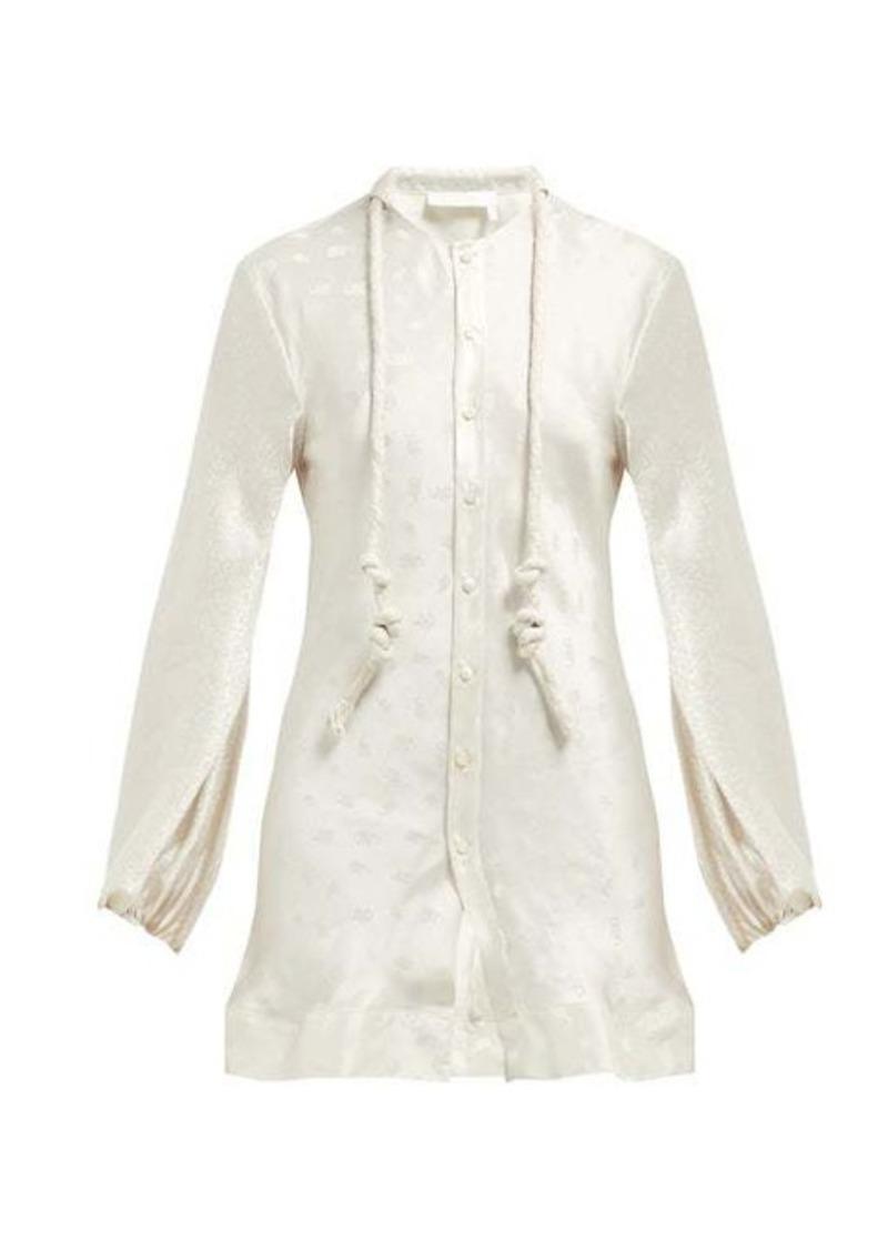Chloé Paisley-jacquard balloon sleeve silk blouse