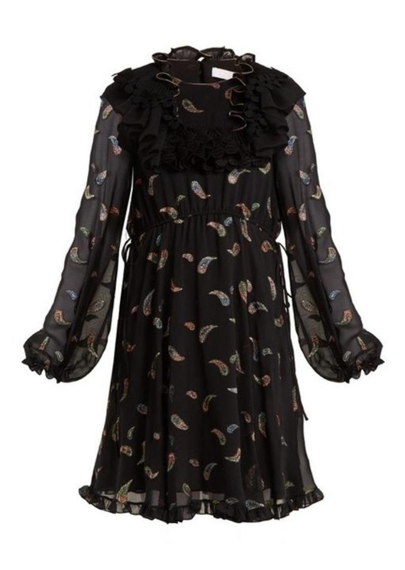 Chloé Paisley-jacquard chiffon dress